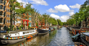 Amsterdam-canals-photo-taken-whilst-travelling-Europe-on-a-UK-Gap-Year