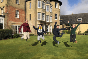 UK gap students jumping at school